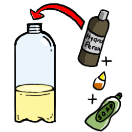 h2o2 experiment Some enzymes can even be damaged, such as when exposed to too much heat a damaged enzyme may no longer work to catalyze a chemical reaction catalase is an enzyme in the liver that breaks down harmful hydrogen peroxide into oxygen and water when this reaction occurs, oxygen gas bubbles.