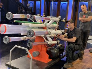 Fine tuning the Salad Cannon on Jimmy Kimmel Live.