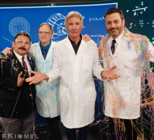 Science Bob Pflugfelder, Jimmy Kimmel, and Harrison Ford experiment with a Silly String cannon